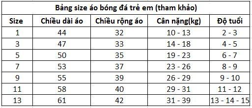 Cách chọn size quần áo bóng đá trẻ em