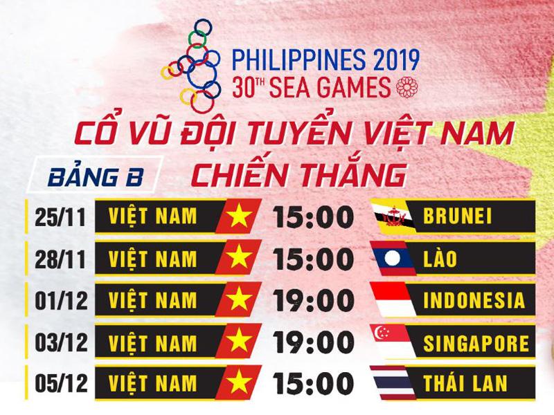 Lịch thi đấu SEAGAME 2019 tuyển Việt Nam